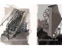 Treppengeländer innen für zwei Betontreppen ohne Treppenauge