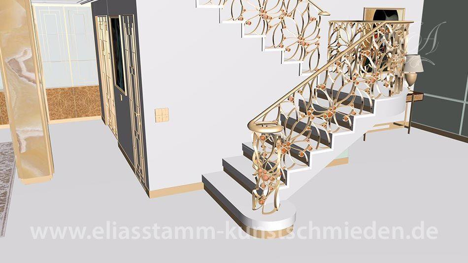 Geschmiedete Treppengeländer aus Edelmetallen