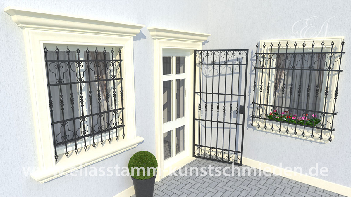 geschmiedete gitter f r fenster und balkone eliasstamm art. Black Bedroom Furniture Sets. Home Design Ideas