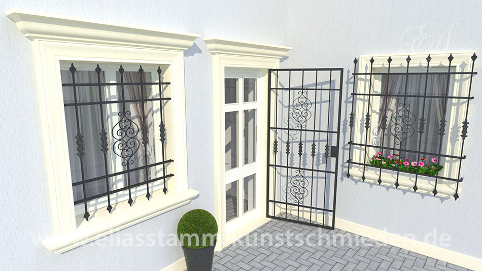 geschmiedete Fenstergitter Model Eleganz