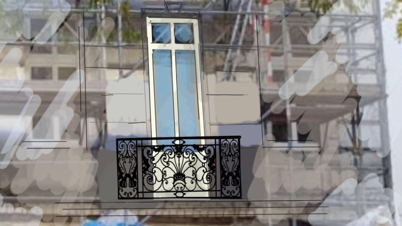 Skizze franzsische Balkone