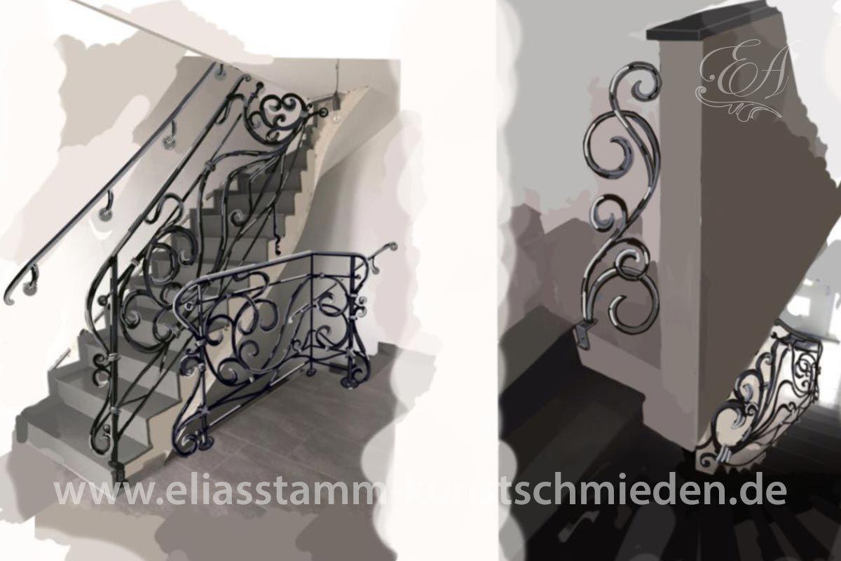 Treppengeländer innen für zwei Betontreppen ohne Treppenauge.